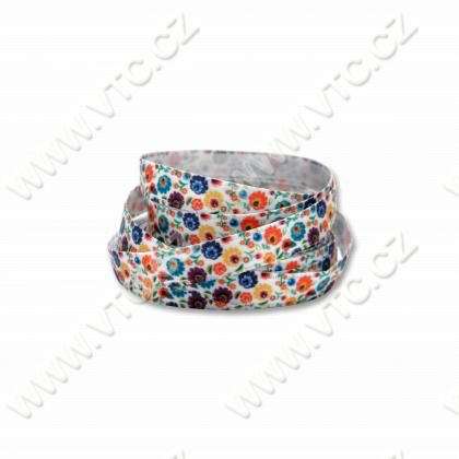Printed satin ribbon 10 mm Flowers