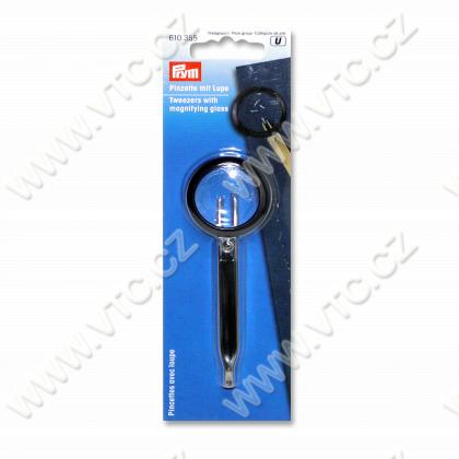Tweezers with magnifying glass