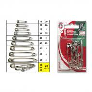 Safety pins No.1-3 nickel - card
