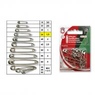 Safety pins No.1,5 nickel - card