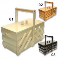 Wooden sewing box folding